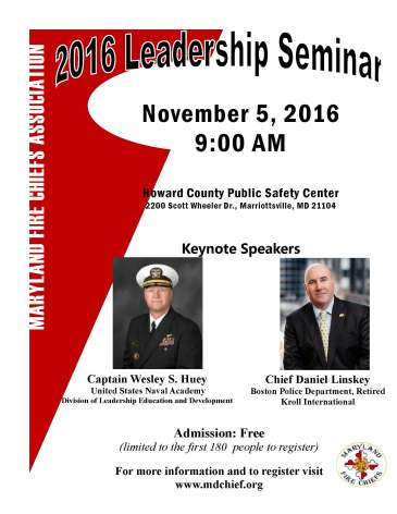 Register For The Maryland Fire Chiefs Association Leadership